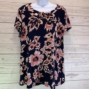 Loft Vintage Soft Blue Floral T Shirt Size XL